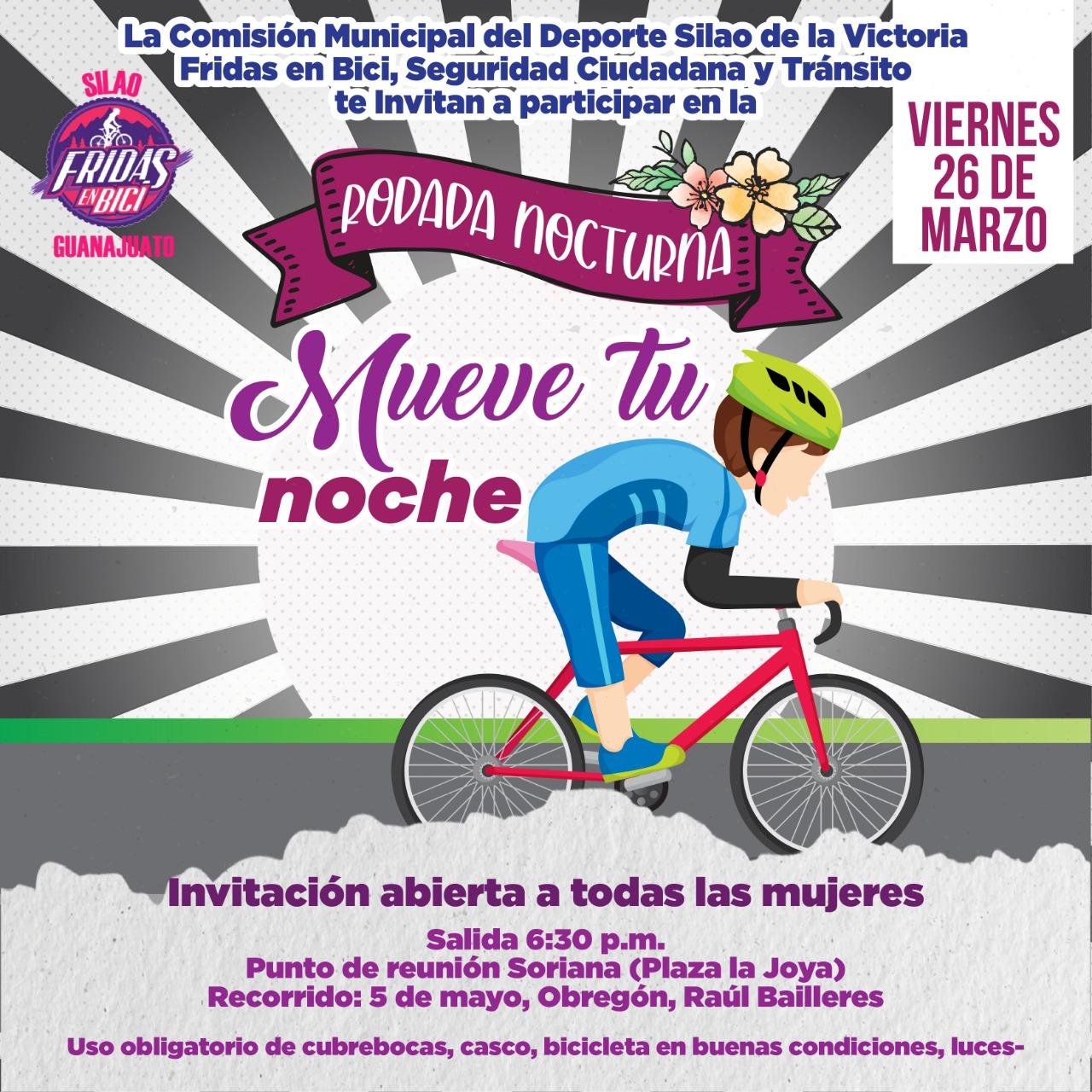 Invitan a mujeres a participar en rodadas nocturnas este 26 de marzo