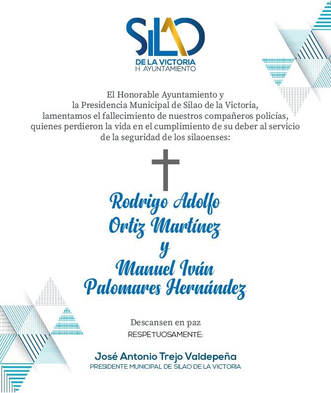 Presidencia Municipal  de Silao y el H. Ayuntamiento lamenta y condena la muerte de dos policías de Silao