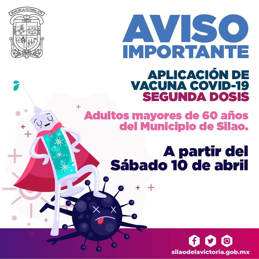 Segunda dosis de la vacuna COVID-19, se aplicará a partir del 10 de abril