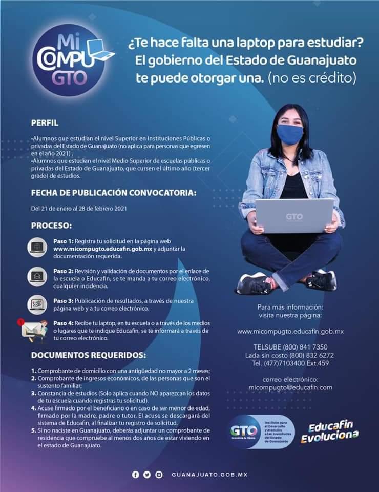 ¿Te hace falta una laptop para estudiar? Gobierno del Estado y Municipio te informan cómo obtenerla