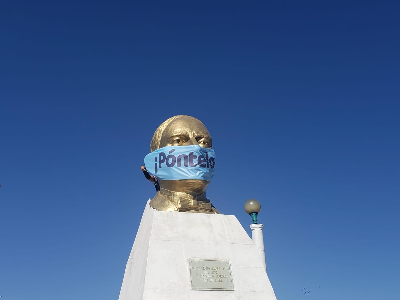 Hasta los monumentos se ponen cubreboca y tú ¿qué esperas?