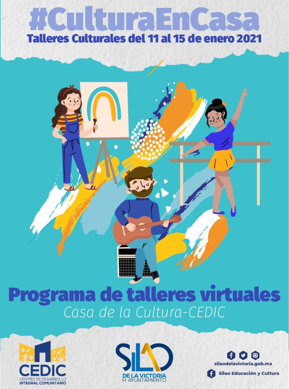 Invitan a seguir programa de talleres culturales de forma virtual